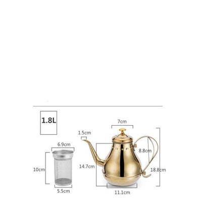 Grand théière inox  1800 ml gold