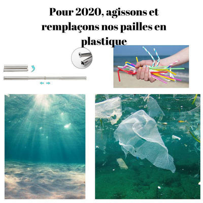 Paille inox pliable <br> Porte clef rouge | Inox Ecologie