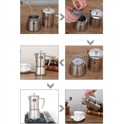 Cafetière italienne <br> Inox 4 personnes - Inox Ecologie