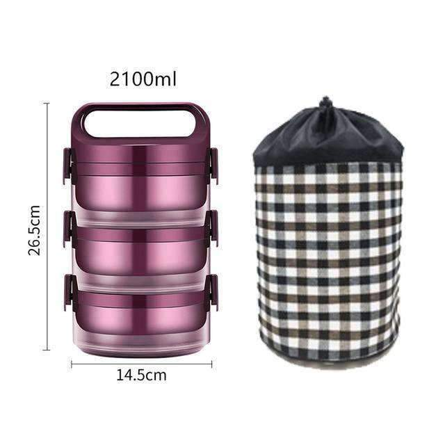 Lunch box chauffant  3 box + 2100 ml
