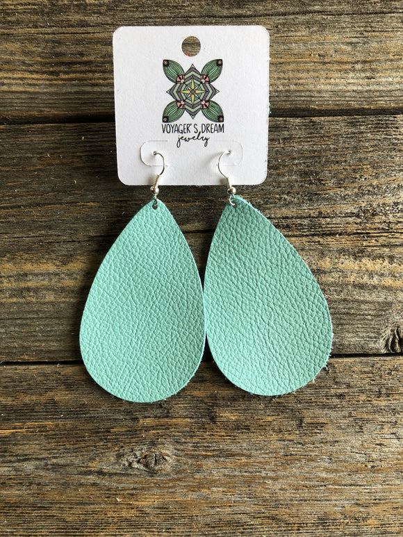 Genuine Leather Tear Drop Earrings