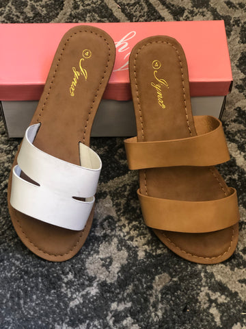 Girls Camel Double Strap Sandal