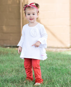 Girl's Ruffle Red Leggings