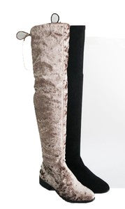 Velvet Tie Up Knee High Boots