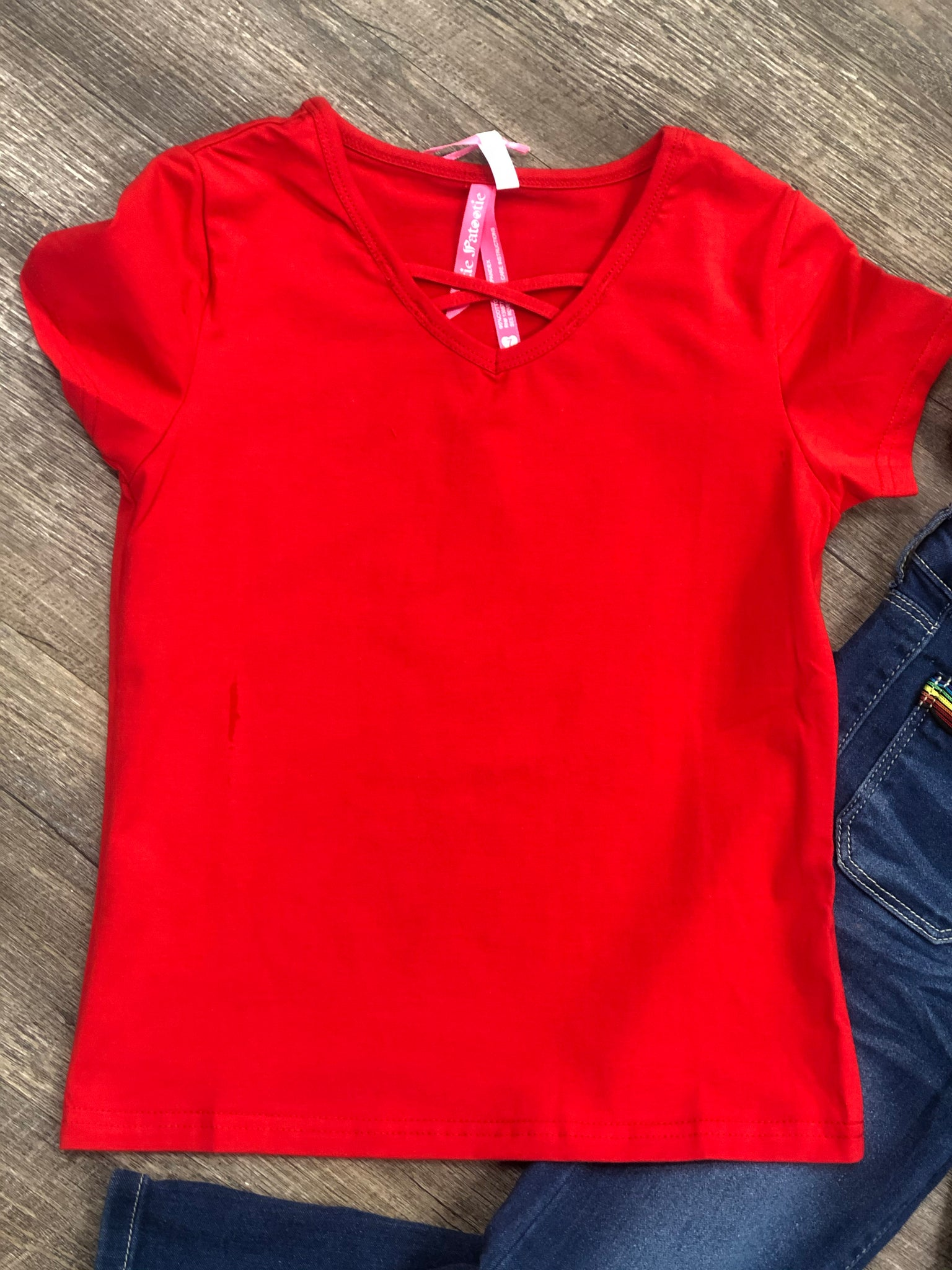 V-Cross Neck Girls Top