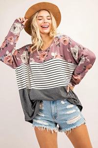 Floral/Stripe Block Top