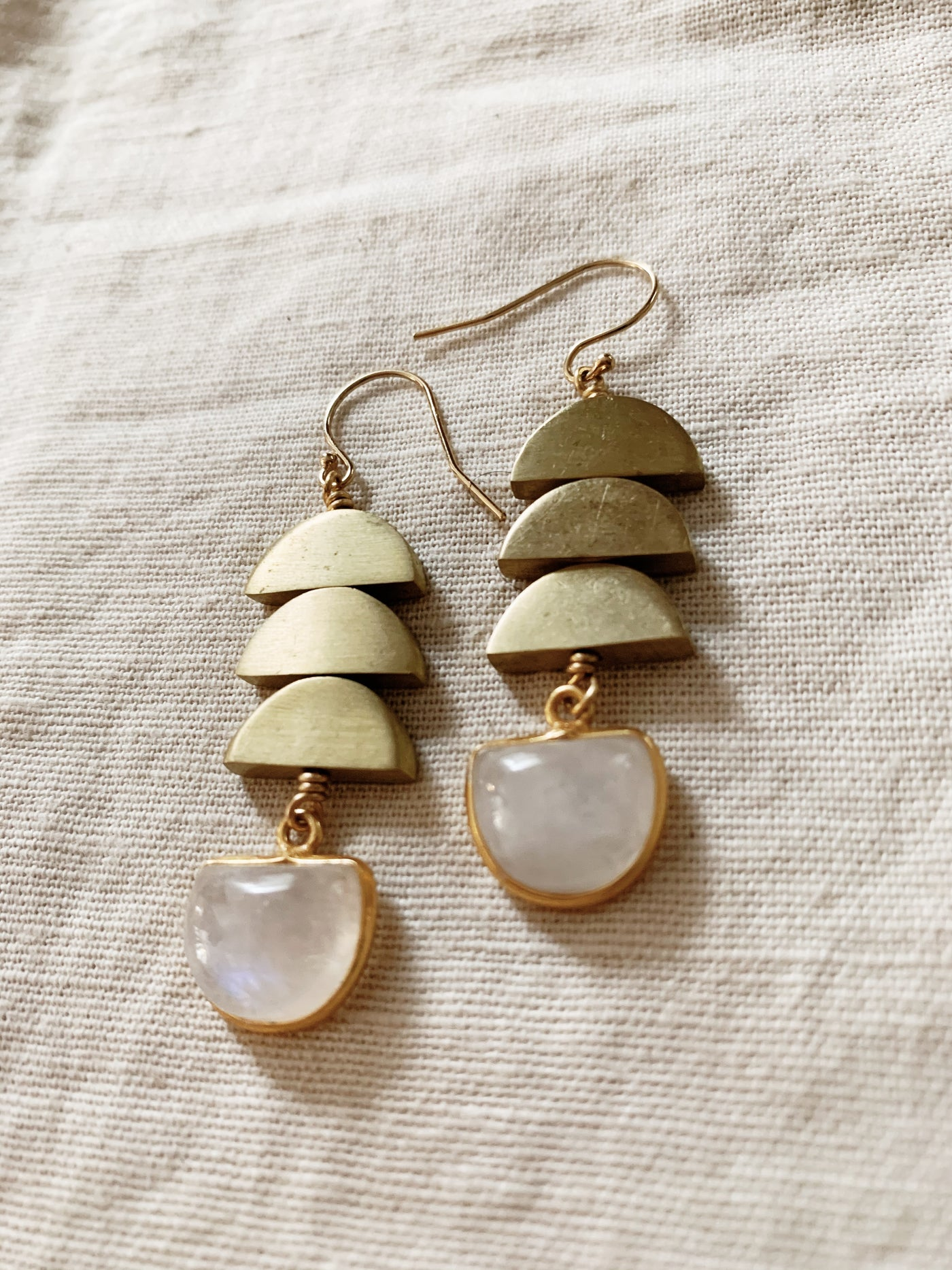 Larissa Loden: Moonstone + Moons Earrings
