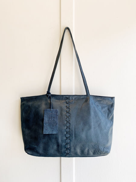 Latico Cross Stitch Leather Tote