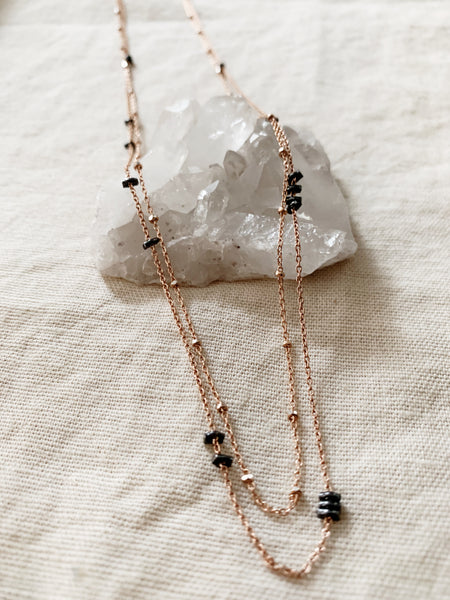 Rebecca Scott: Rose + Black Long Necklace