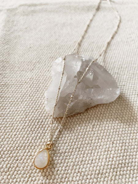 Rebecca Scott: Moonstone Teardrop Necklace