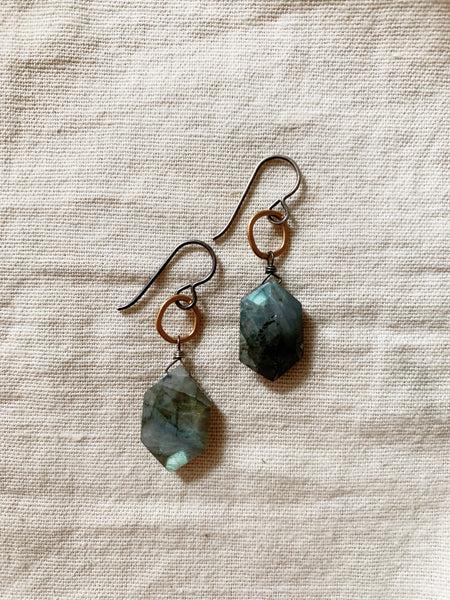 Tasi Designs: Labradorite Shield Earrings