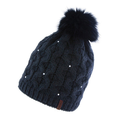 Snowlux Ladies Crystal Fur Bobble Black Hat