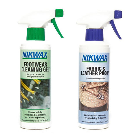 Nikwax Footwear Cleaning Gel & Fabric & Leather Proof 300ml Spray Twin pack