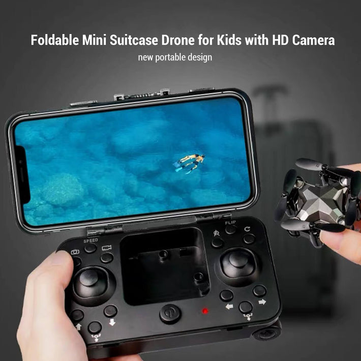 PIPIN Foldable Mini Suitcase Drone for Kids with HD Camera