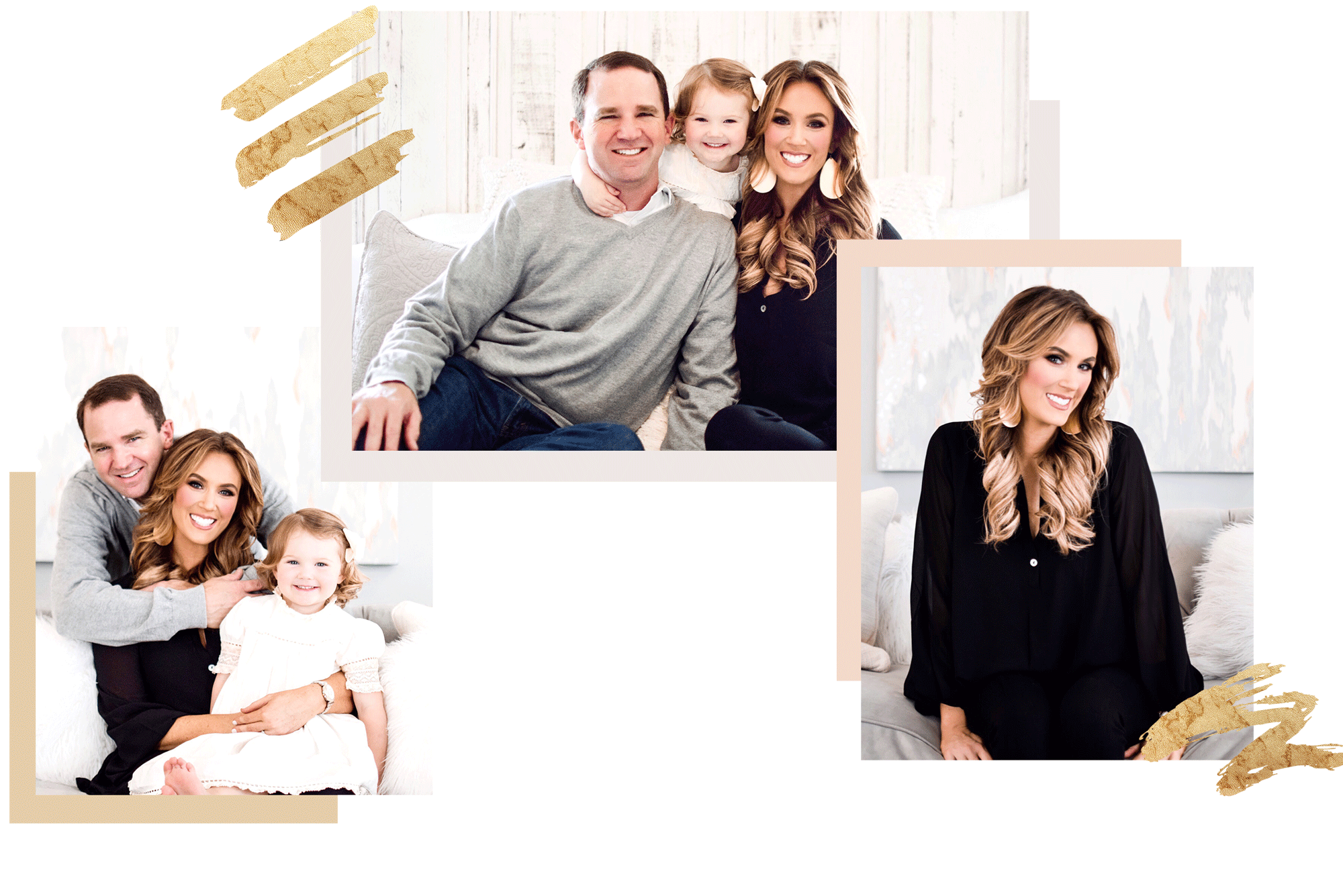 collection of photos of gilded garment owner, Erin Poe, with her husband and young daughter