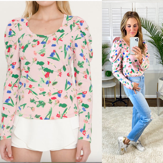 Oh So Spring Floral Print Long Sleeve T- Shirt