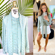 Summer's Sparkle Metallic Foil Print Blouse          Natural, Mint, and Pink