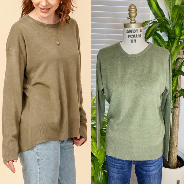 Solid Round Neck Sweater          Olive Grove