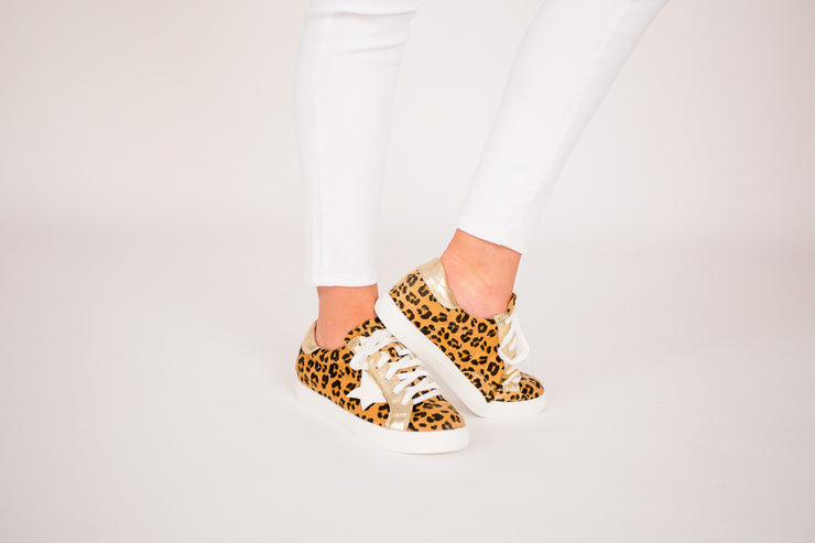Reaching For The Stars Cheetah and Gold  Sneakers With White Star Patch