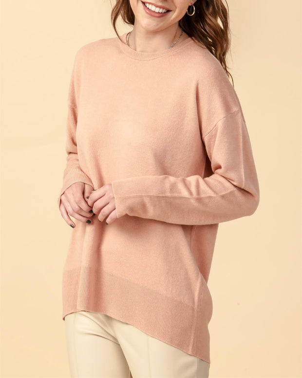 Solid Round Neck Sweater                  Misty Rose