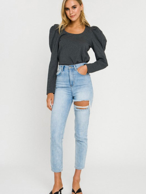 Pleated Puff Long Sleeve Top          Charcoal