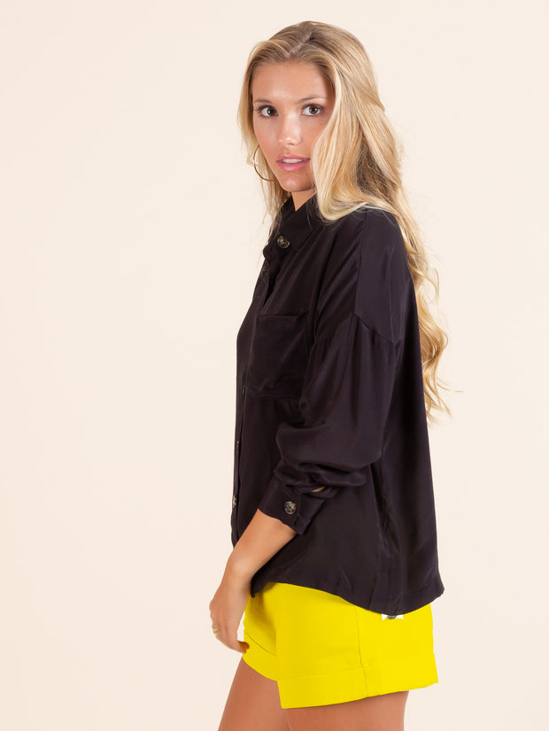 Black Contrast Woven Button Up Top