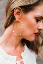 Over Sized Silver Hoops