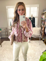 Front Ruffle Cranberry and Cream Animal Print Blouse