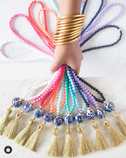 The Legare Tassel Necklace         Pink With Metallic Gold Tassel