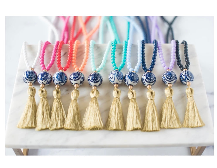 The Legare Chinoiserie Tassel Necklace         Pink With Metallic Gold Tassel