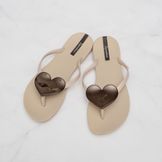Ipanema Wave Heart Flip Flop           Beige Beige Black
