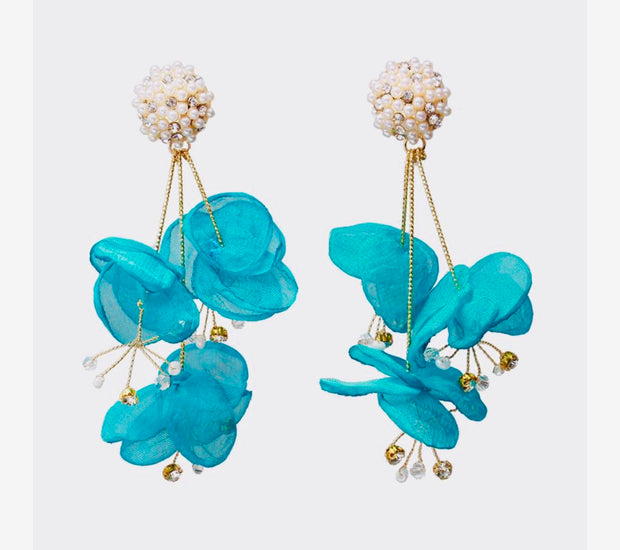 Treasure Jewels Silk Flower Turquoise Earring