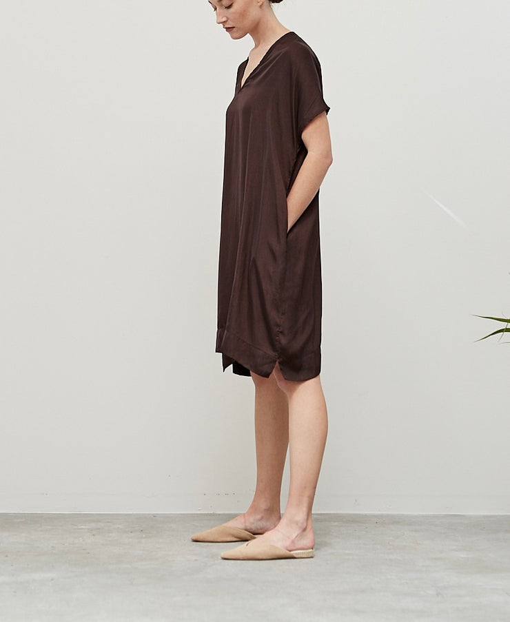 Rose Brown Silk Tunic Dress