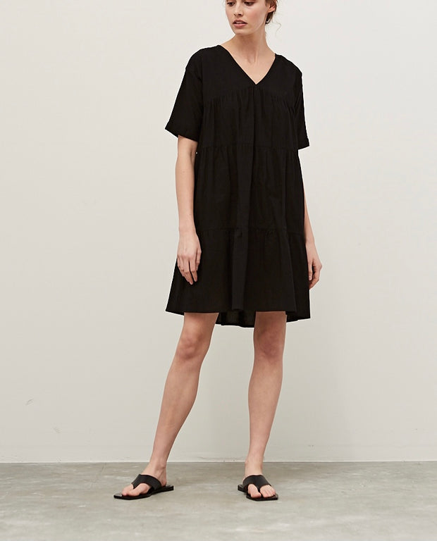 Black Tiered Cotton Day Dress