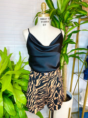 Charleston High Waisted Zebra Print Shorts                     Black and Tan