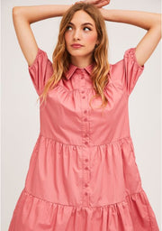 Pink A-Line Shirt Dress With Horizontal Seams