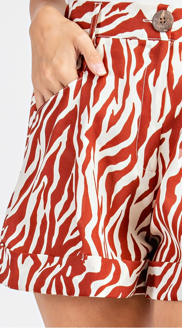 Charleston High Waisted Zebra Print Shorts                Rust and Cream