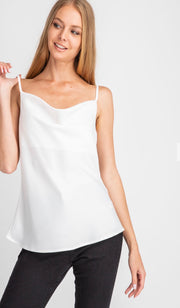 Satin Cowl Neck Camisole                       Off White