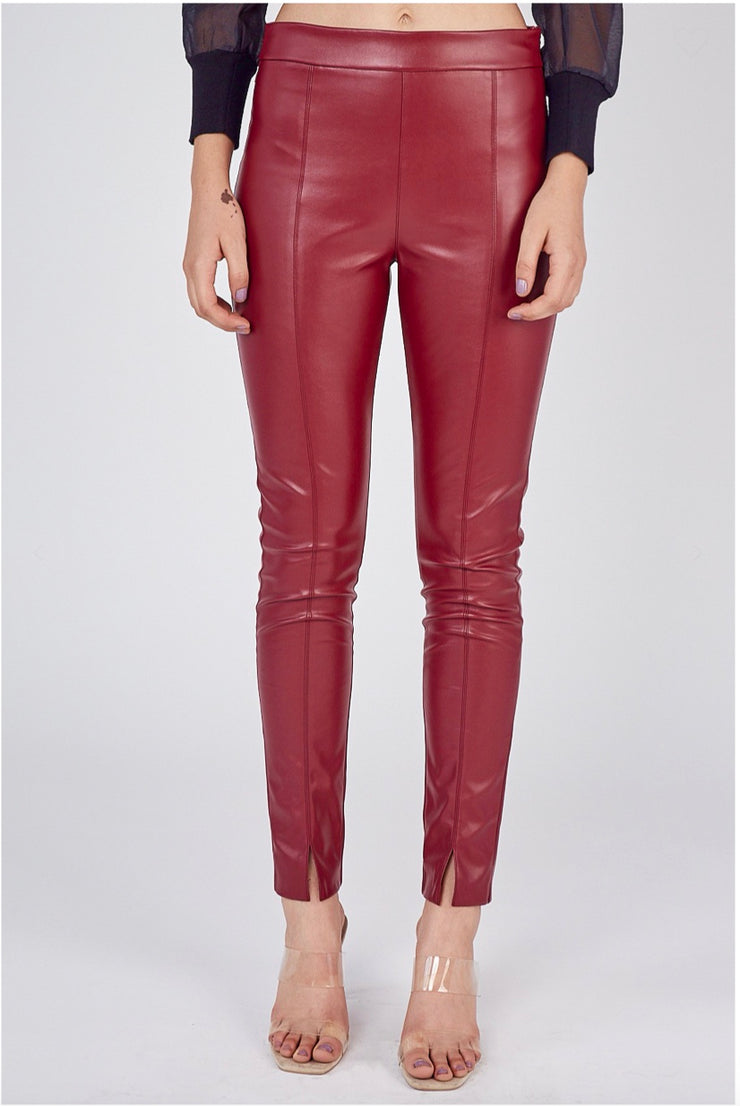 Gilded Garment Luxe  Skinny Fit Faux Leather Pants               Earth Red