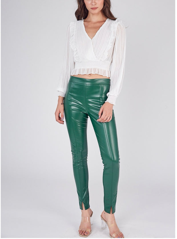 Gilded Garment Luxe  Skinny Fit Faux Leather Pants                Green