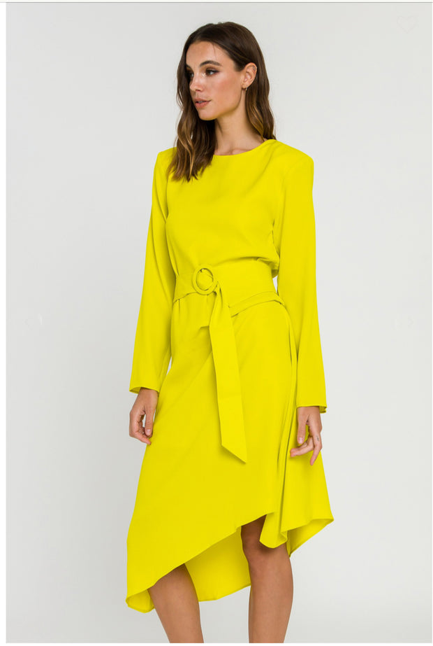 Lime Light Draped Dress With Belt