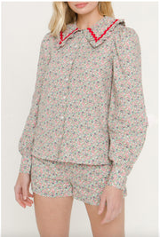 Floral Print Long Sleeve Blouse With Ric Rac