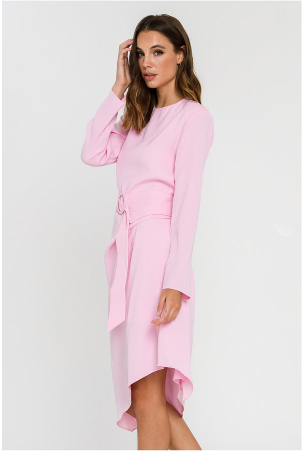 Light Pink Draped Dress With Belt