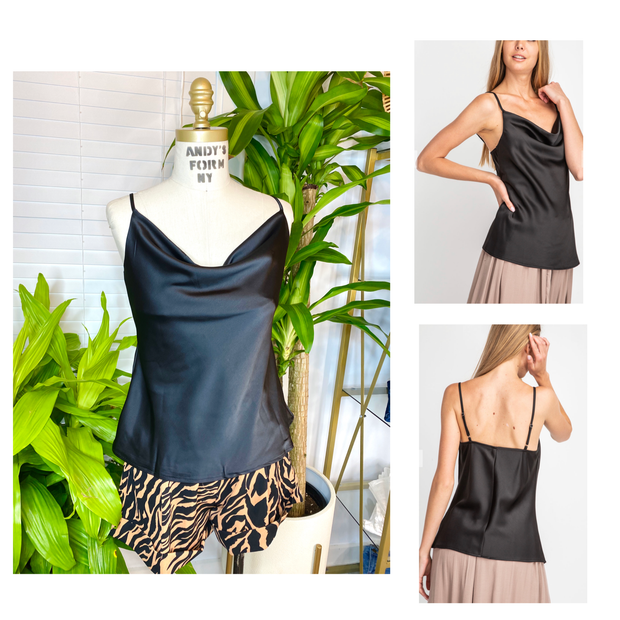 Black Satin Cowl Neck Camisole