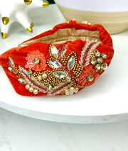 Treasure Jewels Burn Orange  Headband
