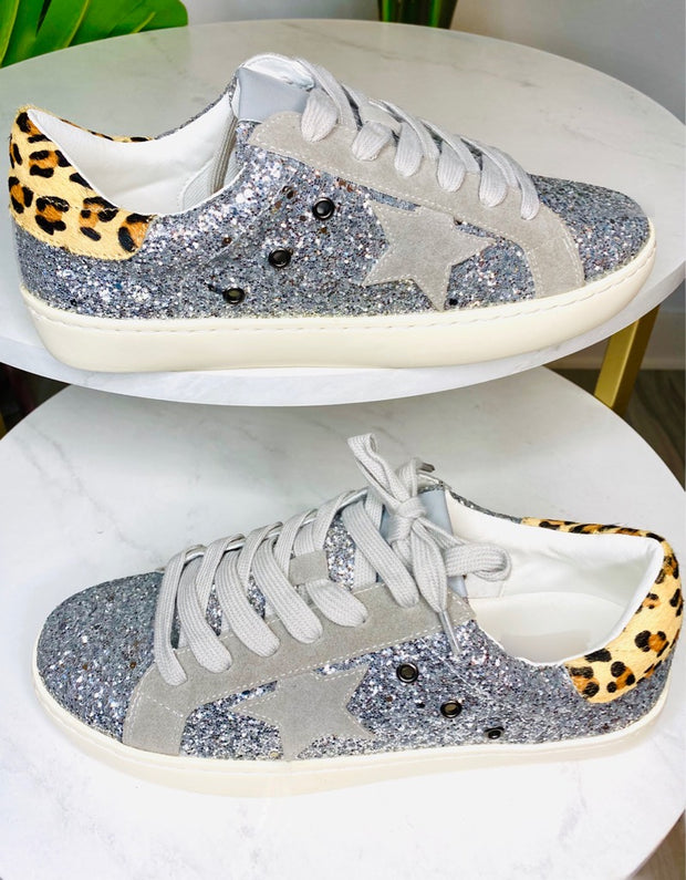 Caught In The Stars Silver Glitter Star Sneakers