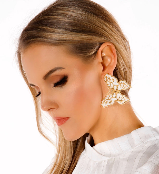 Treasure Jewels Mariposa White and Gold Butterfly Earrings