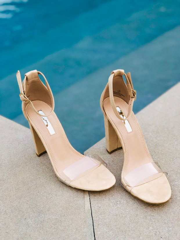 Badillo Single Clear Toe Strap Heel           Beige
