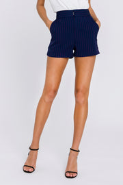 Navy Shorts With Hot Pink Pin Stripe
