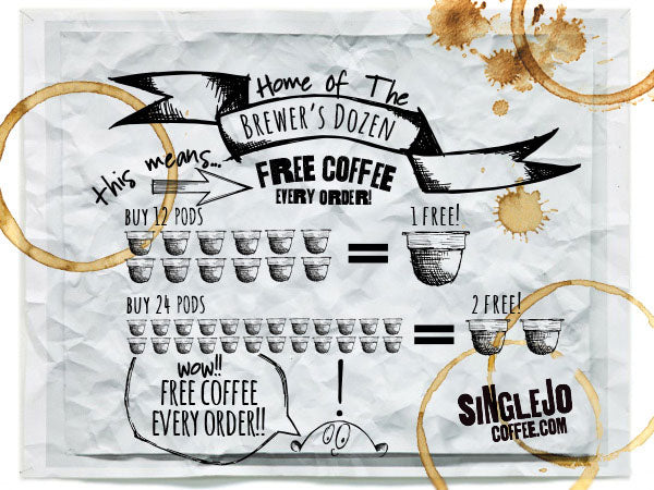 SingleJoCoffee.com Brewers Dozen offers free coffee